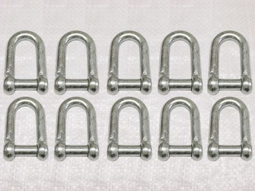 x10 10MM Galvanised Commercial Dee Shackles With Countersunk Pin - Chain Connect Caravan Flush